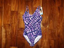 NWT Womens SPEEDO Dark Purple White One Piece Swim Suit Light Padded 6