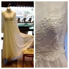 Vintage Retro 70s chiffon lace embroidered white wedding bridal train dress