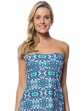 Jessica Simpson Kaleidoscope Bandeau Tankini Swim Top Blue, Small