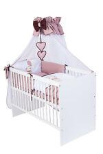 Babybett T1 mit 10-tlg Komplett-Set Bettwäsche Matratze Nestchen Teddy braun Neu