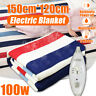 120x150cm 100W Electric Heated Blanket Flannel Rapid Heating Heater + Controller