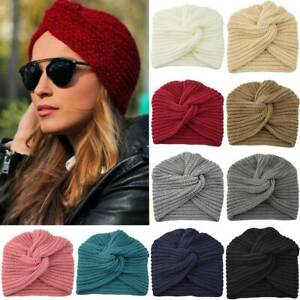 Ladies Turban Knitted Ear Warmer Knot Twist Crochet Beanie Stretch Headwrap Hat