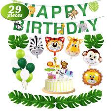 29PCS Animal Mylar Balloon Animals Leaves Happy Birthday Banner Party Decoration
