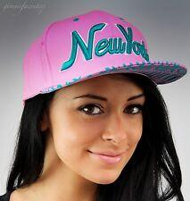 NY Snapback Coperchi, Hip Hop Baseball Piatto Picco Aderente Cappelli, Unisex Bling Rosa