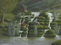 FAIRY FAIRIES WATERFALL POND SUNBEAM GARDEN NATURE FOREST LISTED ARTIST PAINTING