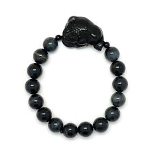 Blue Tigers Eye Bracelet with Onyx Three Legged Toad sitting on Coin