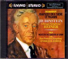 RUBINSTEIN RACHMANINOV Paganini Rhapsody FALLA Nights Spain RCA LIVING STEREO CD
