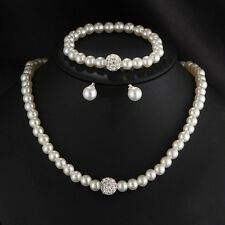 Womens Bride Wedding Jewelry Rhinestone Faux Pearl Necklace Bracelet Earring Set