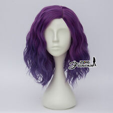 35CM Mixed Purple Ombre Fashion Curly Women Lolita Synthetic Hair Cosplay Wig