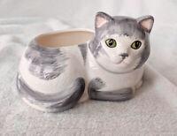 "Vintage Avon Cat Planter Grey And White Cat Green Eyes EUC 3.75 X 6"" Ceramic"