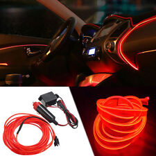 Decor Red 2M 12V Car Interior Neon LED Light Glow EL Wire String Strip Rope Tube