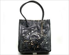 Authentic PATRICIA NASH - Black Leather Floral Tooled Gold Accents Cutouts Tote