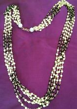 Indian Fashion Chunky Black Crystal N Pearl 5 Layer girls Women Necklace chain