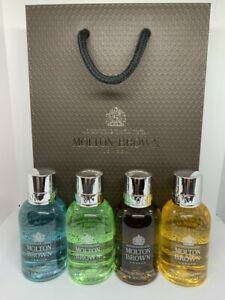 Molton Brown Men's Bath & Shower Gel Gift Set (4 x 50ml) Bottles & Gift Bag NEW