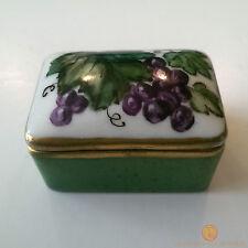 Limoges France Small Rectangular Porcelain Pill / Trinket Box Grapes Design