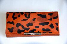Clutch Handtasche Echt Leder Leo XL Fell orange Geldbörse Portemonnaie Tasche