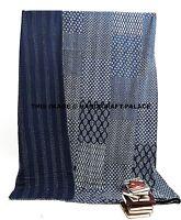 Patchwork Queen Kantha Quilt Indian Blanket Bedding Bedspread Indigo Blue Throw