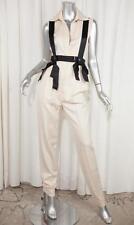 CHANEL Womens Ivory Wool Sleeveless Suspender Straight-Leg Jumpsuit XS NEW