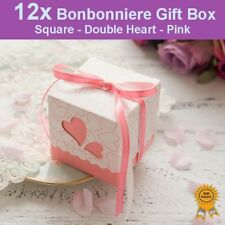 12x Heart Wedding Bonbonniere Bomboniere Candy Gift Box - Pink