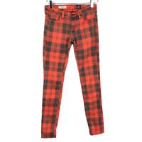AG Adriano Goldschmied Womens Legging Super Skinny Jeans Size 26 Red Black Plaid