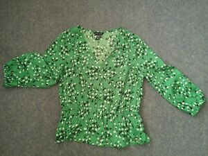 Green floral blouse size 10