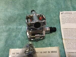 NEW VP COMPONENTS BIO CLEAT VP-M01 02 SILVER ALUMINUM PEDALS WITH CLEATS / BOLTS