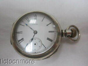 ANTIQUE AURORA 18s HUNTER CASE POCKET WATCH 1884 nO 10298 DUEBER SILVERINE CASE