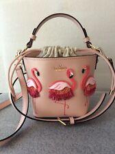 Kate Spade By the Pool Flamingo Pippa Leather Bucket Handbag Purse Pre-owned