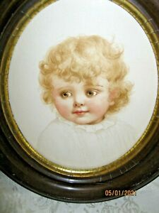 ANTIQUE IDA WAUGH PRINT OF BABY IN ANTIQUE FRAME - HAND TINTED - CIRCA 1890