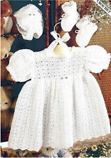BABY DRESS BONNET & BOOTEES CROCHET PATTERN  16/20 INCH  (778)