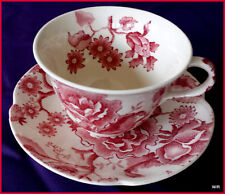 Johnson Brothers Vintage Pink/Red English Chippendale Cup and Saucer 2pc Set