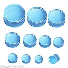 "PAIR-Blue UV Transparent Acrylic Double Flare Ear Plugs 22mm/7/8"" Gauge Body Jew"