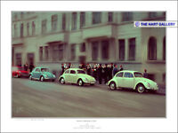 VW Volkswagen Beetle Classic Cars Hanover Germany 1968 Artist Signed Print - New