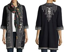 $280 JOHNNY WAS TAYLOR FRENCH TERRY EMBROIDERED COAT JACKET BLACK SZ XL 1X NWT