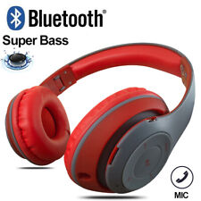 Rechargeable Wireless Bluetooth Headphones Stereo Super Bass Headsets w/ Mic Red