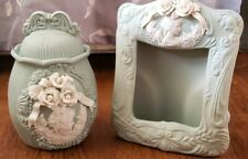 Vintage ceramic canister and photo frame