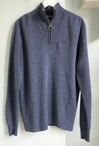 """BARBOUR Blue Grey Marl Essential Lambswool Half Zip Jumper M 40"""" Pit to Pit 22"""""""