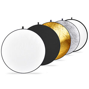Neewers 5-in-1 Reflector Translucent,Silver,Gold,White,Black Round Disc Light