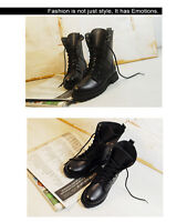 Women  Lace-up Ankle Military Boots Army Combat Black Punk Shoes Chunky Fashion
