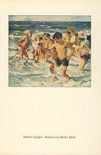 Badende Jungen Kunstdruck 1930 von Walter Miehe * † Berlin Meer Knaben Wellen