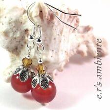Ohrringe mit KARNEOL-Perlen, Silber-Vintage-Look, Ohrhänger, 0339