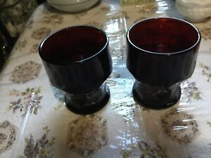 "Vintage Anchor Hocking deep Ruby Red Georgian Pattern Juice Glasses ~4""Set of 2"