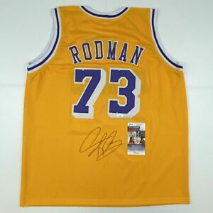 Autographed/Signed DENNIS RODMAN Los Angeles LA Yellow Basketball Jersey JSA COA