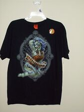 New Halloween Zombie Pin up (Brains) Black T Shirt Mens Large
