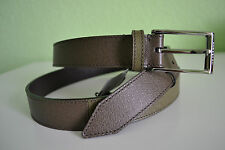 Burberry Colour Block London Leather Belt Olive Green Size 44 New Made in Italy
