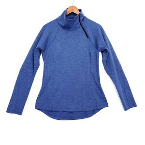 prAna Womens Size S Blue Heather Long Sleeve Asymetrical 1/4 Zip Pullover