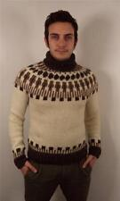 Vintage HOMME chunky laine norvégienne Flocon de Neige Pull Knitwear Jumper XS