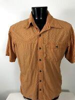 Mountain Hardwear Mens Shirt Short Sleeve Button Up Orange Plaid Pocket  L Large