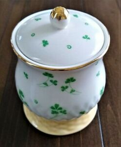 Irish Shamrock Basket Weave Porcelain Jar w/ Lid ~ Gold Edging ~ Mint Condition