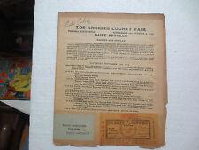 "EDDIE PEABODY ""BANJO KING"" SIGNED 1936 LOS ANGELES COUNTY FAIR PROGRAM W/TICKET"